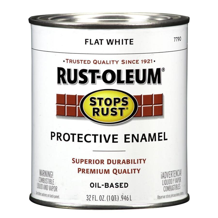 Shop Rust Oleum Stops Rust White Flat Oil Based Enamel