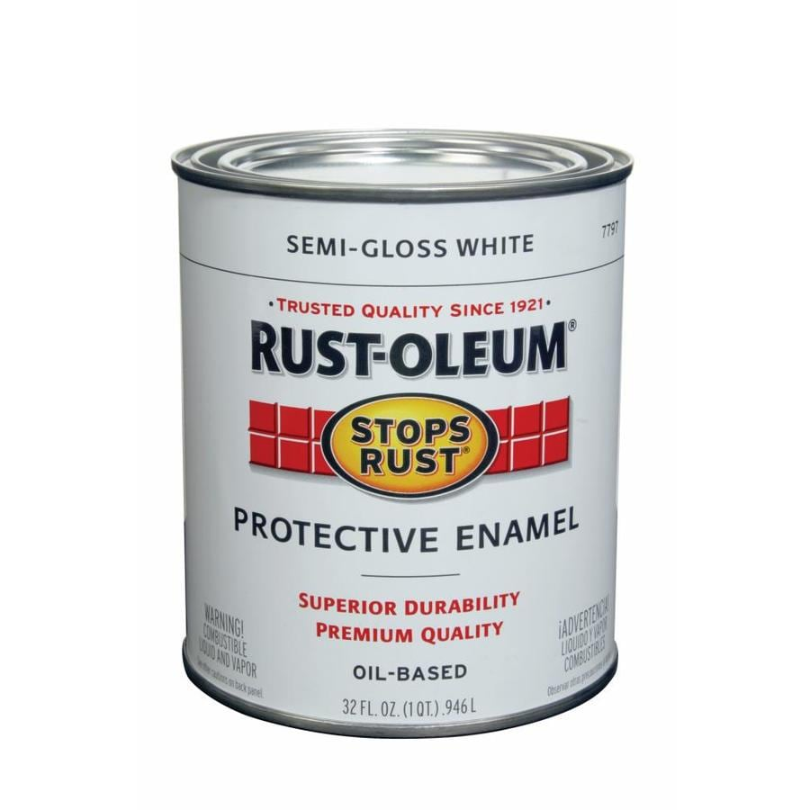 Shop Rust Oleum Stops Rust White Semi Gloss Oil Based Enamel Interior Exterior Paint Actual Net