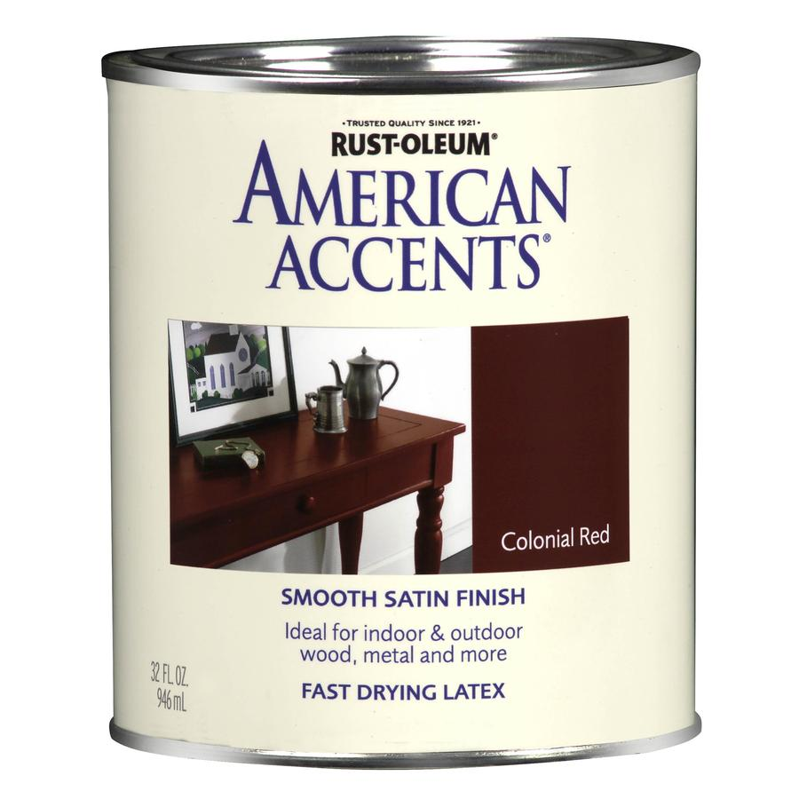 Shop rust oleum american accents 1 quart exterior satin colonial red latex base paint at for Rustoleum exterior metal paint