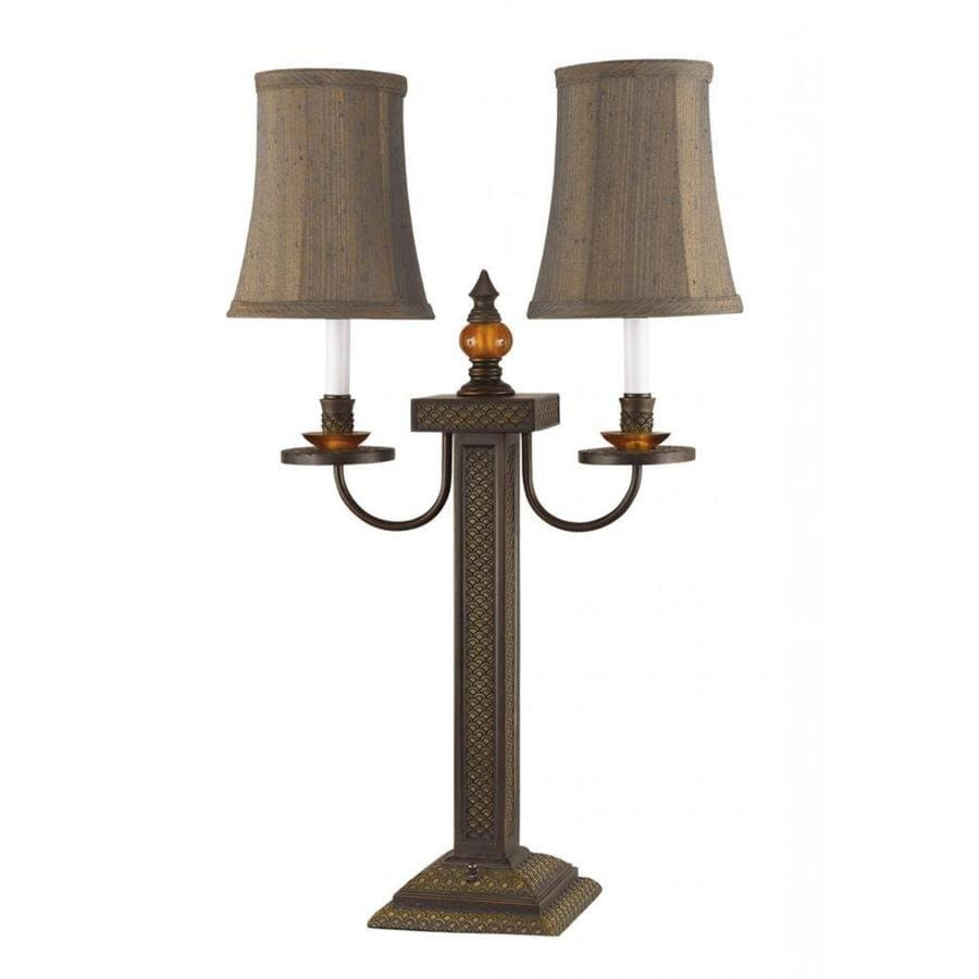 Axis 31-in 3-Way Brushed Bronze Indoor Table Lamp with Fabric Shade