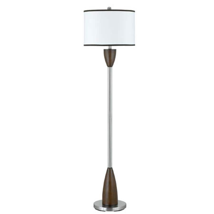 Axis 18-in 3-Way Switch Brushed Steel Torchiere Indoor Floor Lamp with Fabric Shade