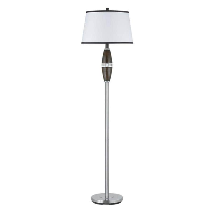 Axis 17-in 3-Way Switch Chrome Torchiere Indoor Floor Lamp with Fabric Shade