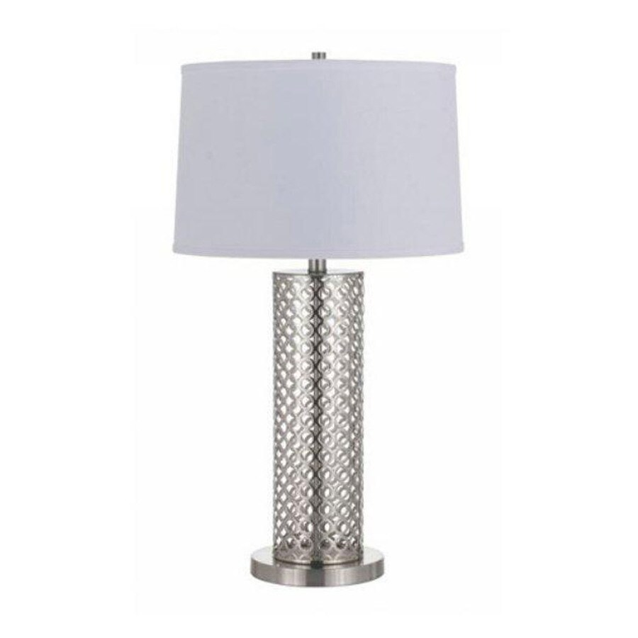 Axis 29-in 3-Way Brushed Steel Indoor Table Lamp with Fabric Shade
