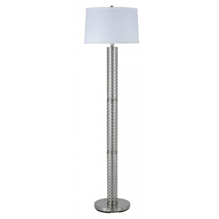Axis 61-in 3-Way Switch Brushed Steel Torchiere Indoor Floor Lamp with Fabric Shade
