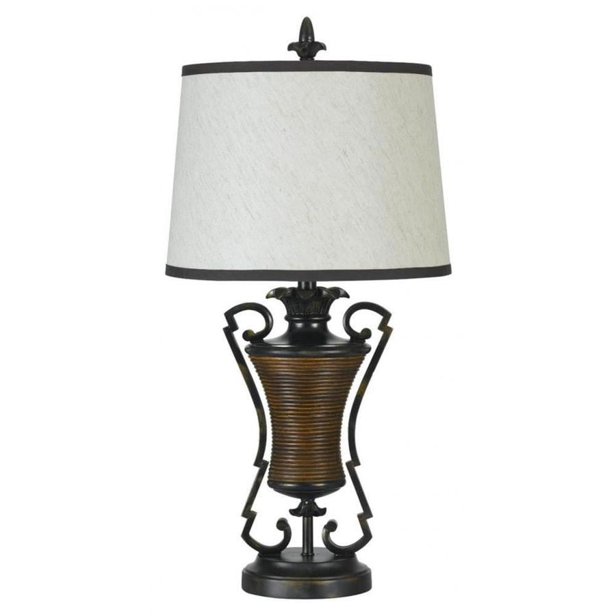 Axis 9-in 3-Way Antique Bronze Indoor Table Lamp with Fabric Shade