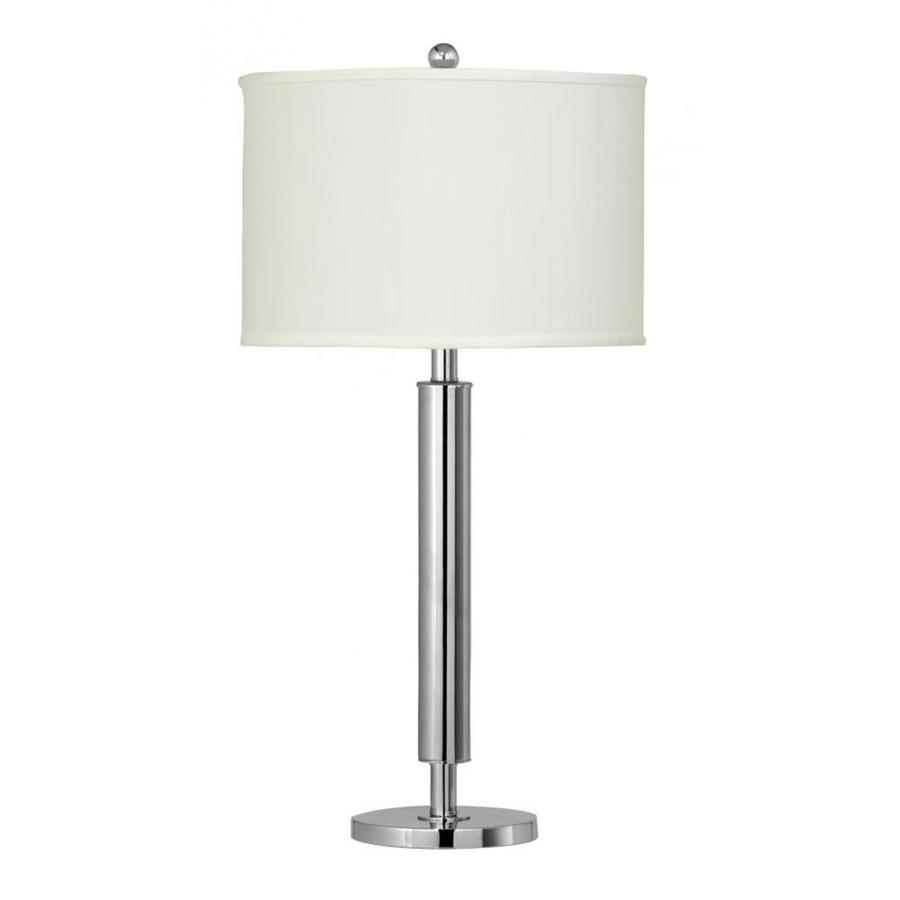 Axis 21-in 3-Way Brushed Steel Indoor Table Lamp with Fabric Shade