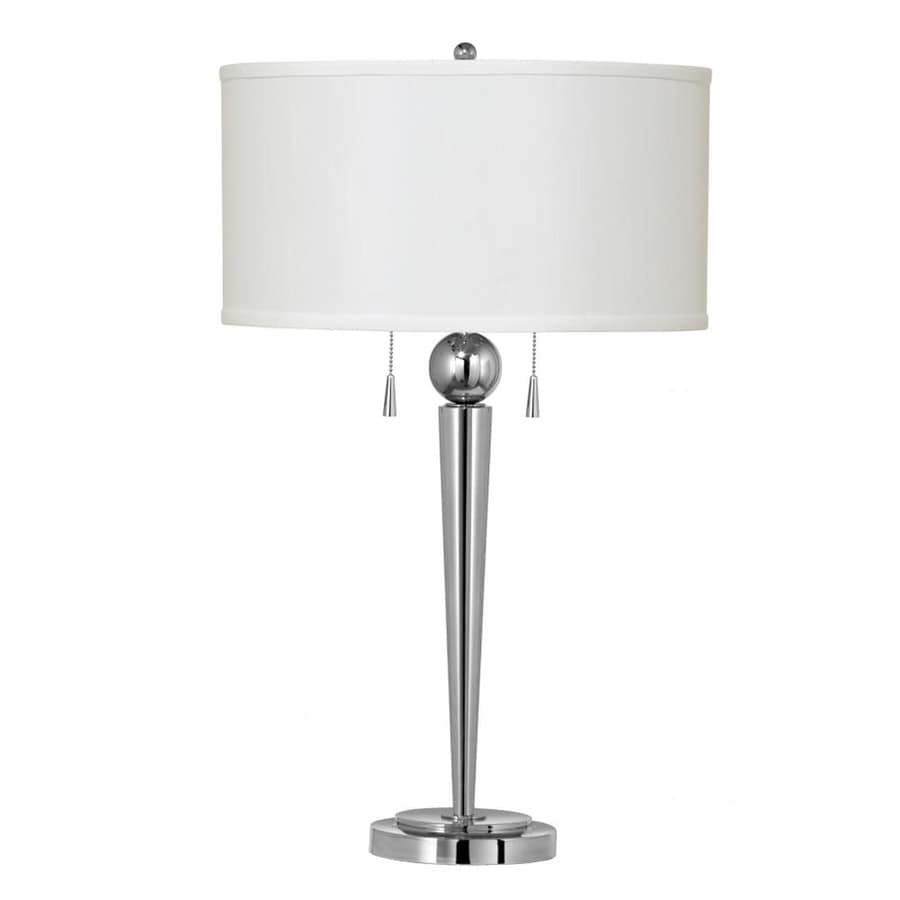 Axis 10-in 3-Way Chrome Indoor Table Lamp with Fabric Shade