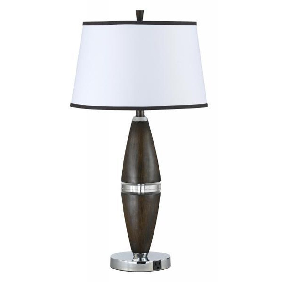 Axis 15-in 3-Way Brushed Steel Indoor Table Lamp with Fabric Shade