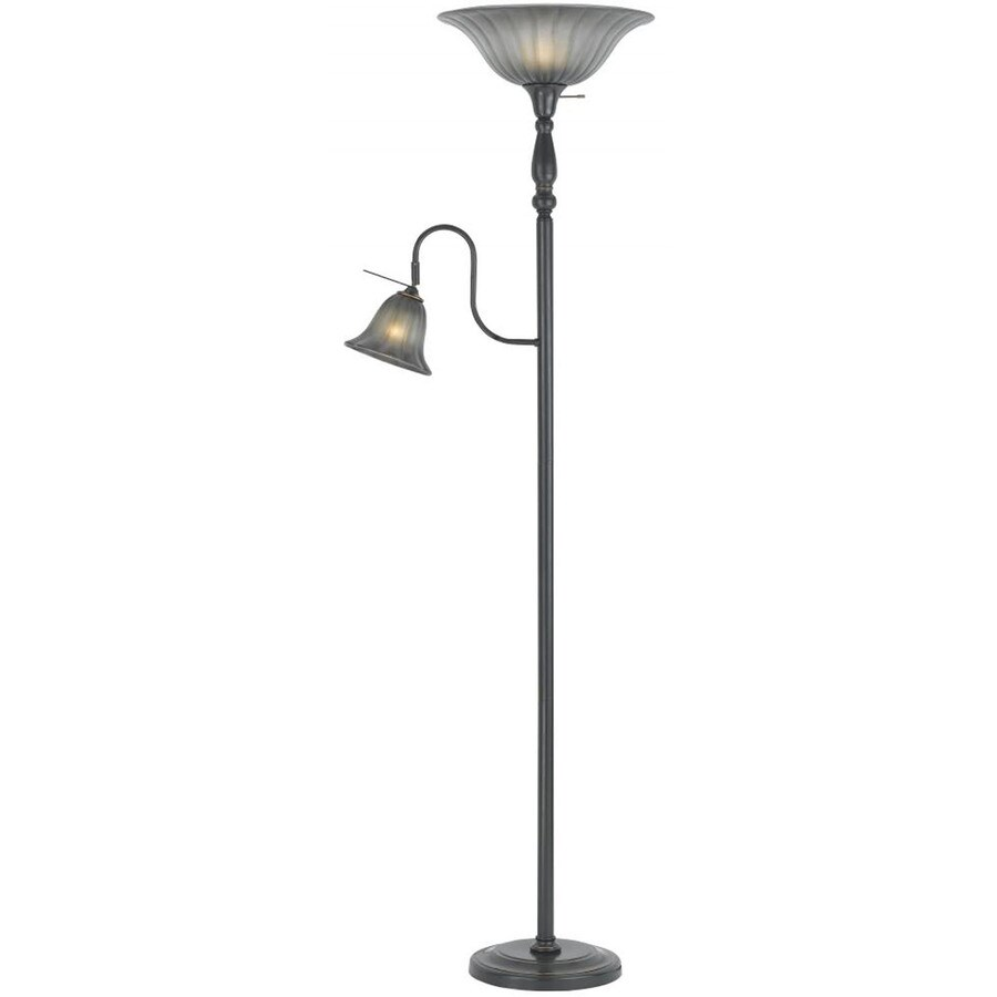 Axis 17-in 3-Way Switch Brushed Steel Torchiere with Side-Light Indoor Floor Lamp with Glass Shade