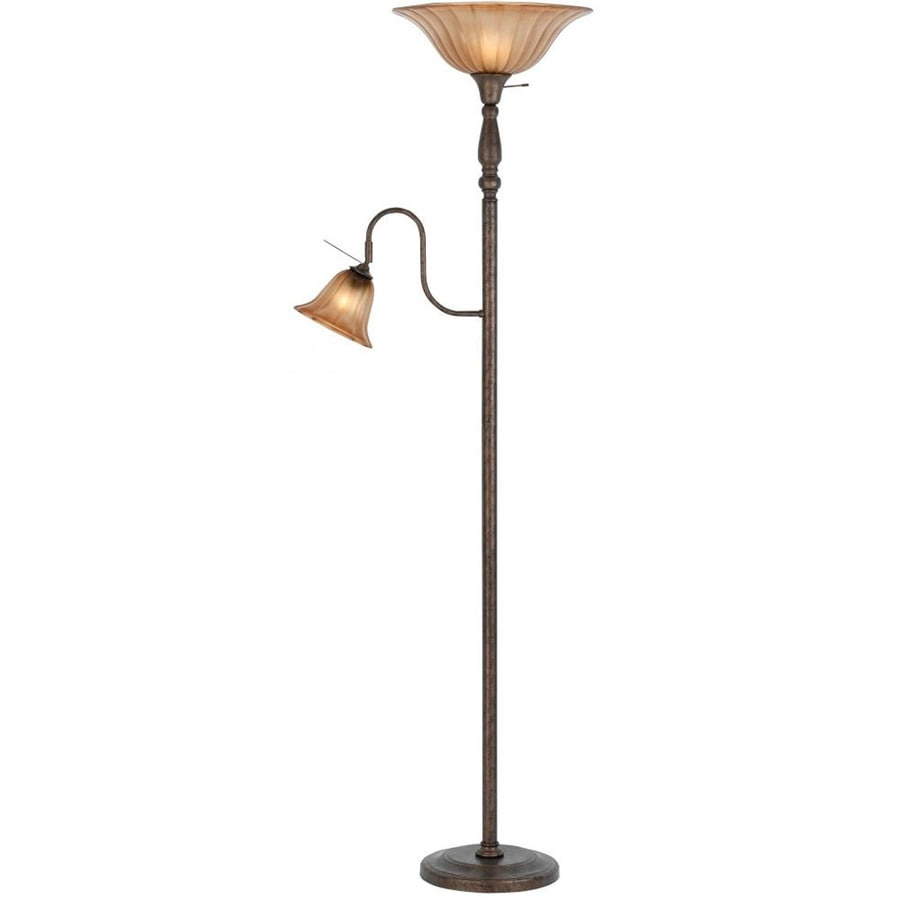 Axis 9-in 3-Way Switch Rust Torchiere with Side-Light Indoor Floor Lamp with Glass Shade