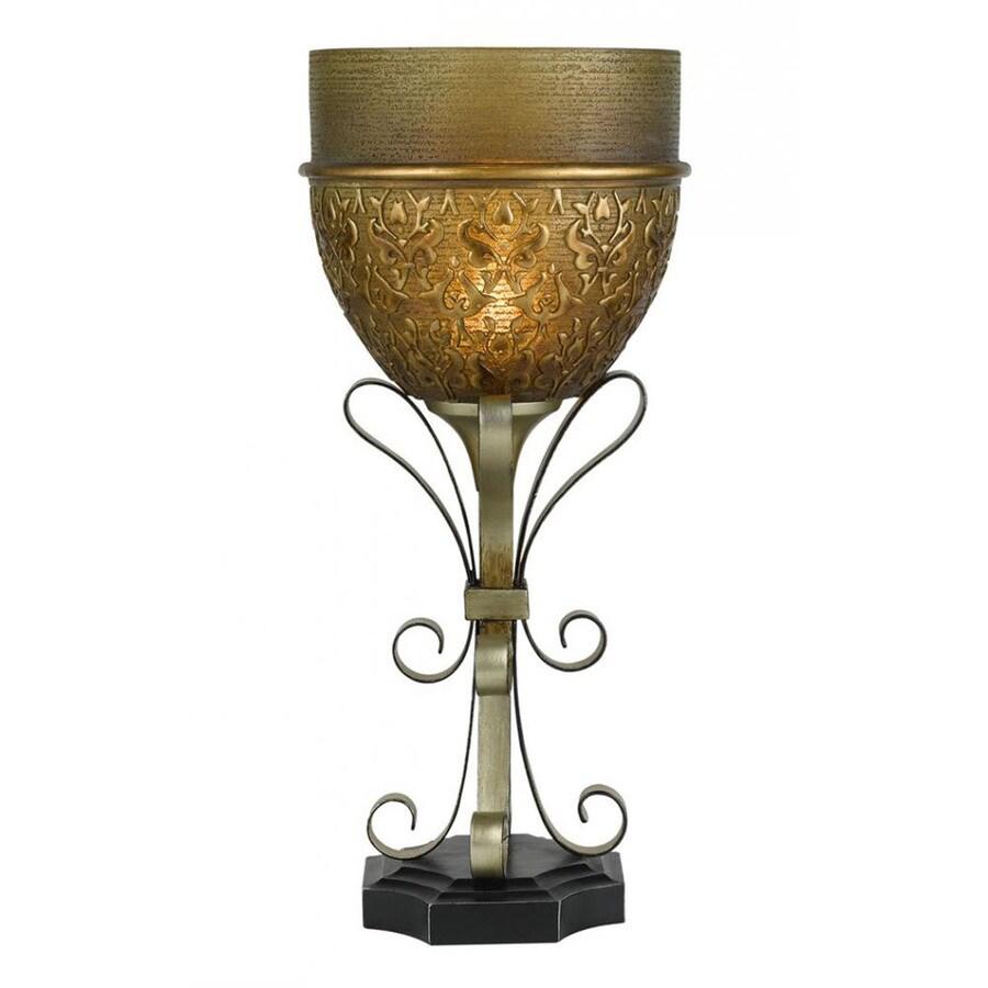 Axis 15-in 3-Way Ersatz Black Indoor Table Lamp with Glass Shade
