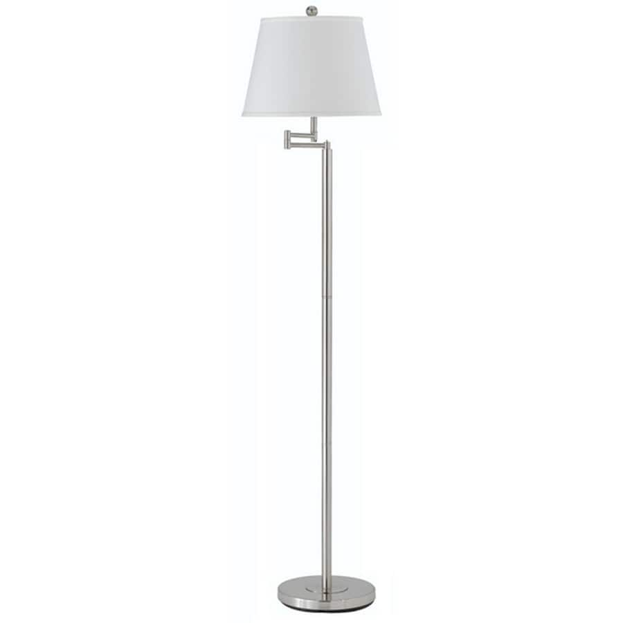 Axis 10-in 3-Way Switch Brushed Steel Torchiere Indoor Floor Lamp with Fabric Shade