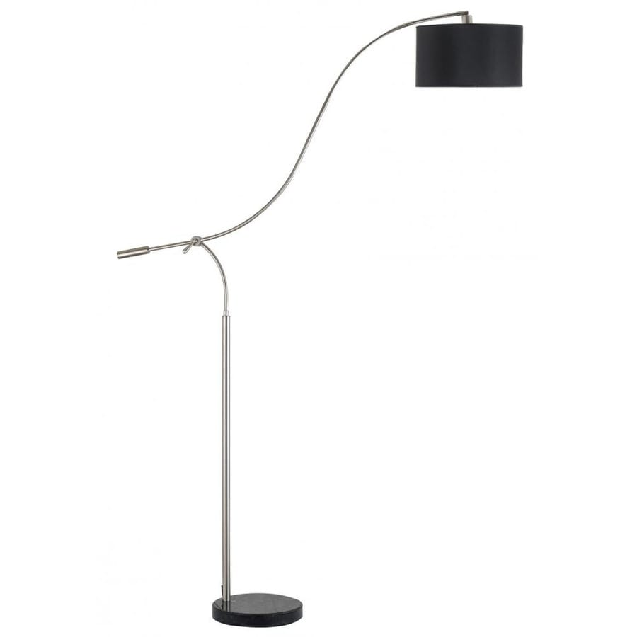 Axis 20-in 3-Way Switch Brushed Steel Torchiere Indoor Floor Lamp with Fabric Shade