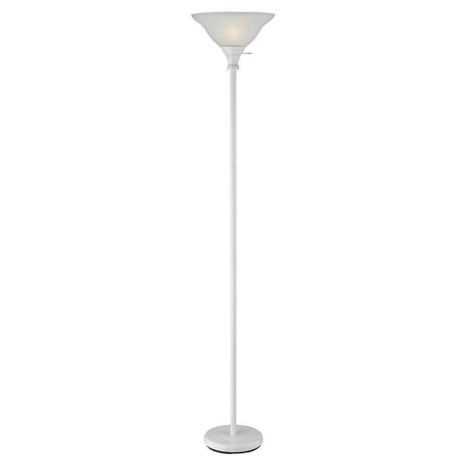 Axis 21-in 3-Way Switch White Torchiere Indoor Floor Lamp with Glass Shade