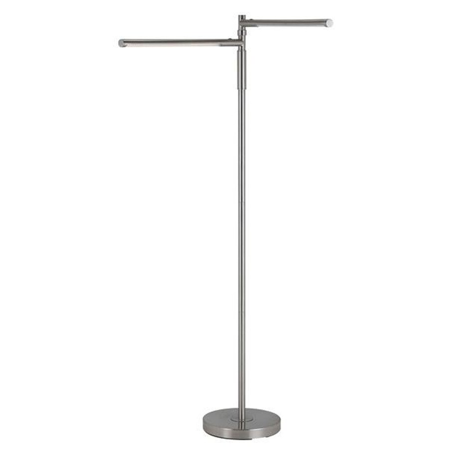 Axis 22-in 3-Way Switch Brushed Steel Indoor Floor Lamp with Shade Shade