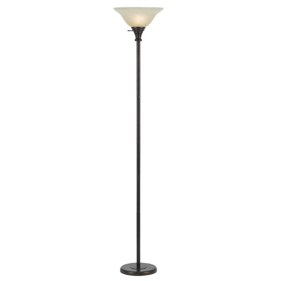 Axis 21-in 3-Way Switch Rust Torchiere Indoor Floor Lamp with Glass Shade