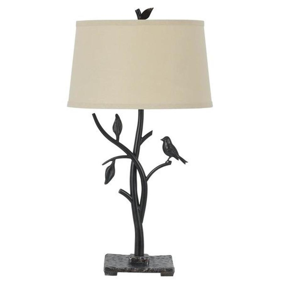 Axis 31-in 3-Way Oak Indoor Table Lamp with Fabric Shade