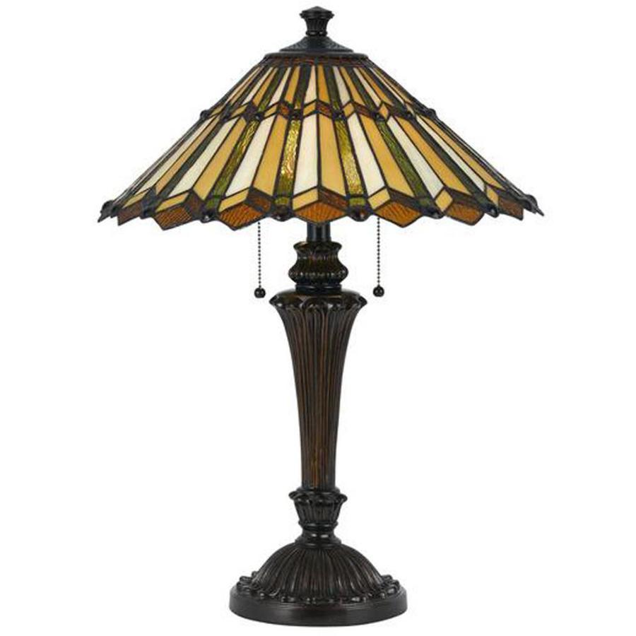 Axis 26.5-in 3-Way Dark Bronze Indoor Table Lamp with Glass Shade