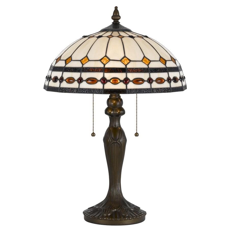 Axis 23.5-in 3-Way Dark Bronze Indoor Table Lamp with Glass Shade