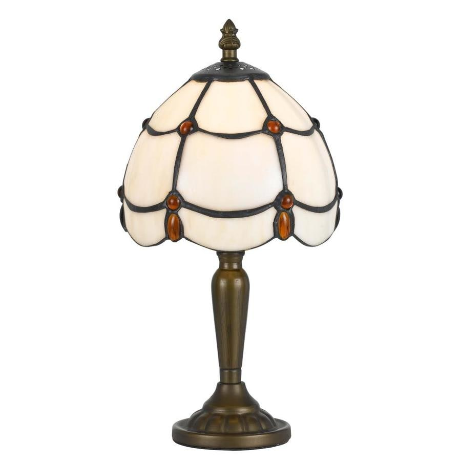 Axis 13-in 3-Way Antique Brass Indoor Table Lamp with Glass Shade