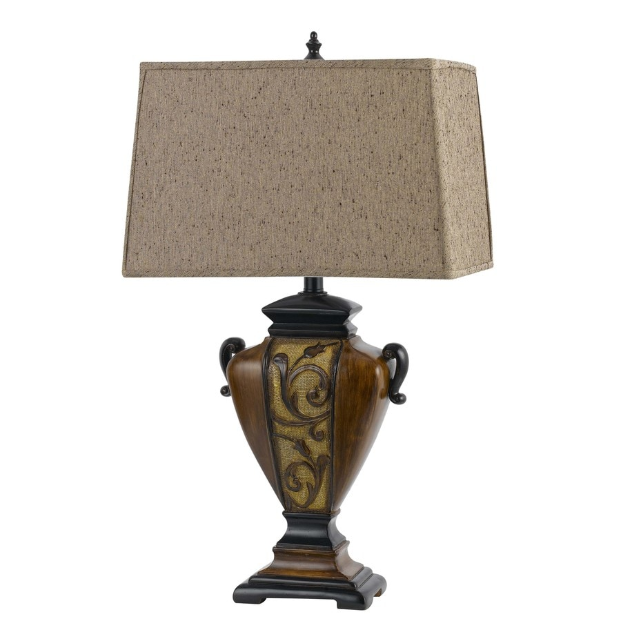shop axis 29 in 3 way walnut indoor table lamp with fabric shade at. Black Bedroom Furniture Sets. Home Design Ideas