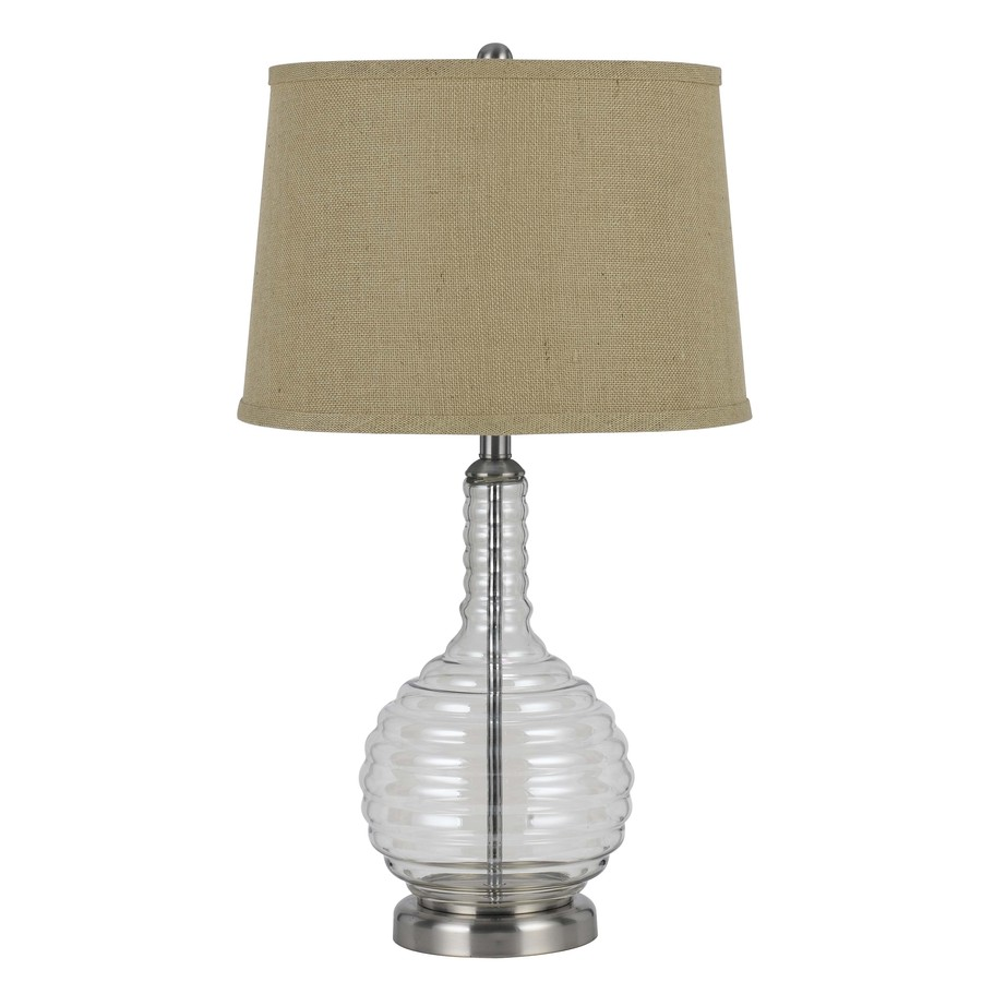Axis 28.5-in 3-Way Clear Indoor Table Lamp with Fabric Shade