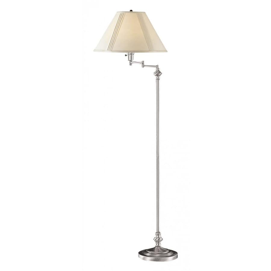 Axis 59-in 3-Way Switch Brushed Steel Torchiere Indoor Floor Lamp with Fabric Shade