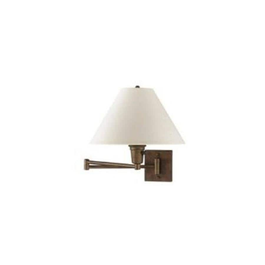 Wall Mount Lamp With Shade : Shop 10-in H Brown Swing-Arm Wall-Mounted Lamp with Fabric Shade at Lowes.com