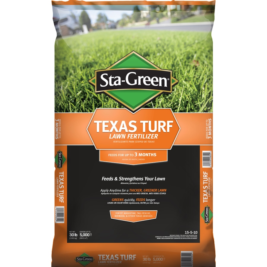 Shop sta green 5 000 sq ft texas turf lawn fertilizer 15 5 10 at for Sta green garden soil