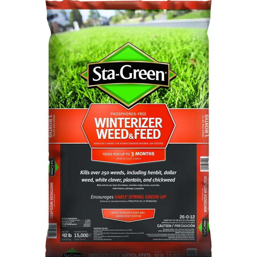 Shop sta green 15 000 sq ft winterizer weed and feed lawn fertilizer 26 0 12 at for Sta green garden soil