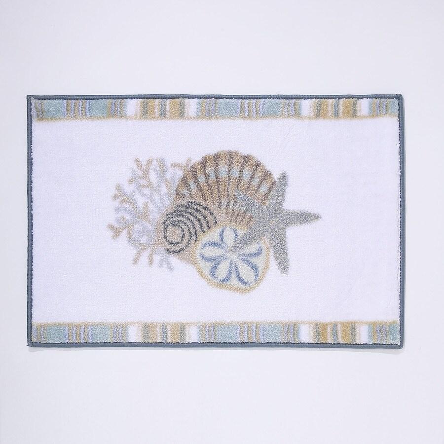 Avanti By The Sea 20-in x 30-in White Nylon Bath Rug