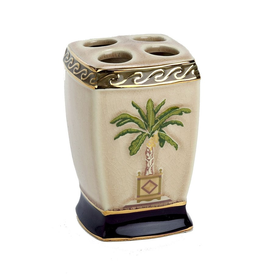 Avanti Banana Palm Linen Ceramic Toothbrush Holder