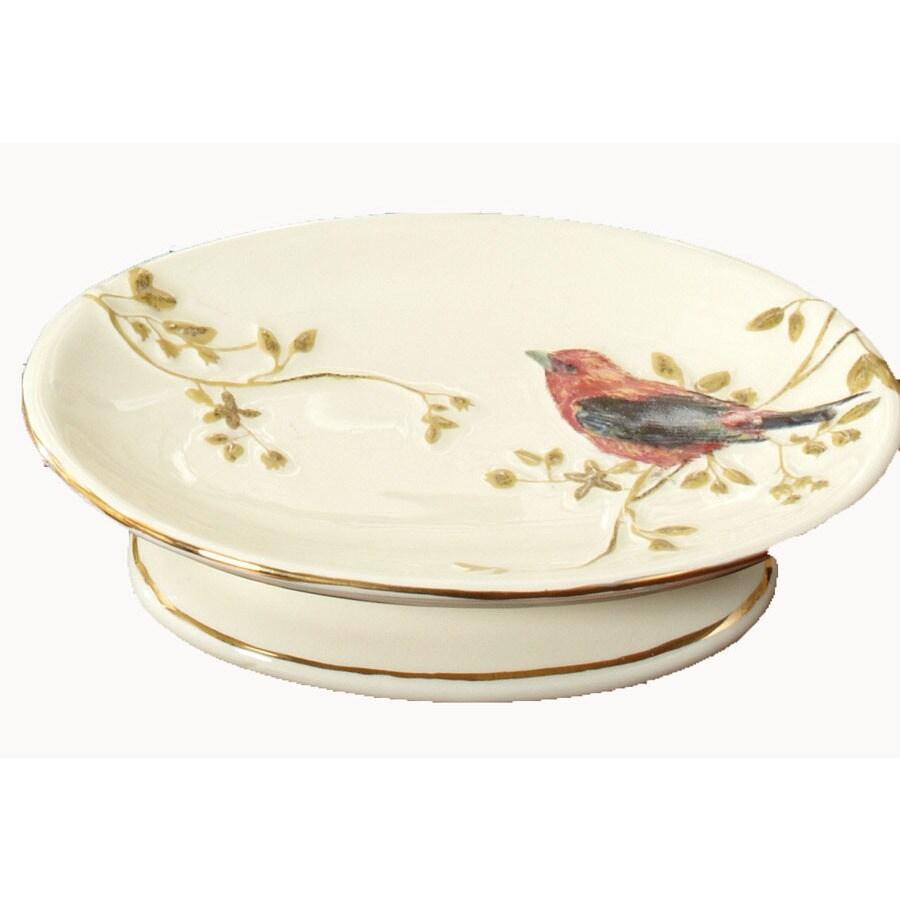 Avanti Gilded Birds Ivory Ceramic Soap Dish