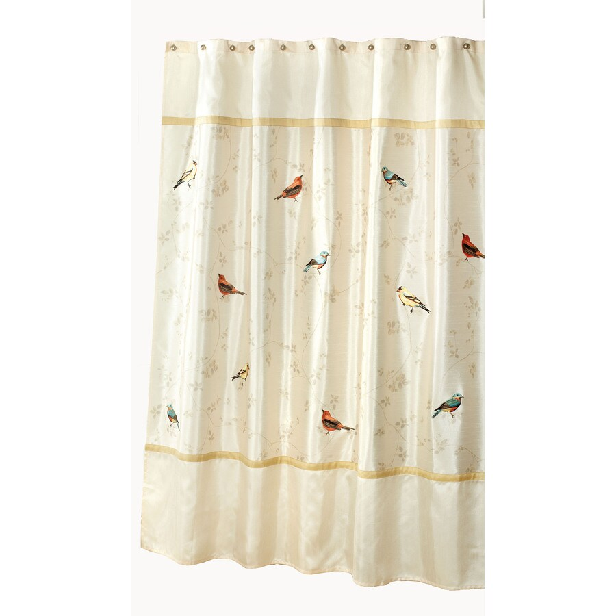 Avanti Gilded Birds Polyester Bird Pattern Animal Shower Curtain