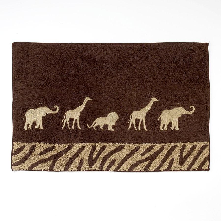 Avanti Animal Parade 20-in x 30-in Mocha Cotton Bath Rug