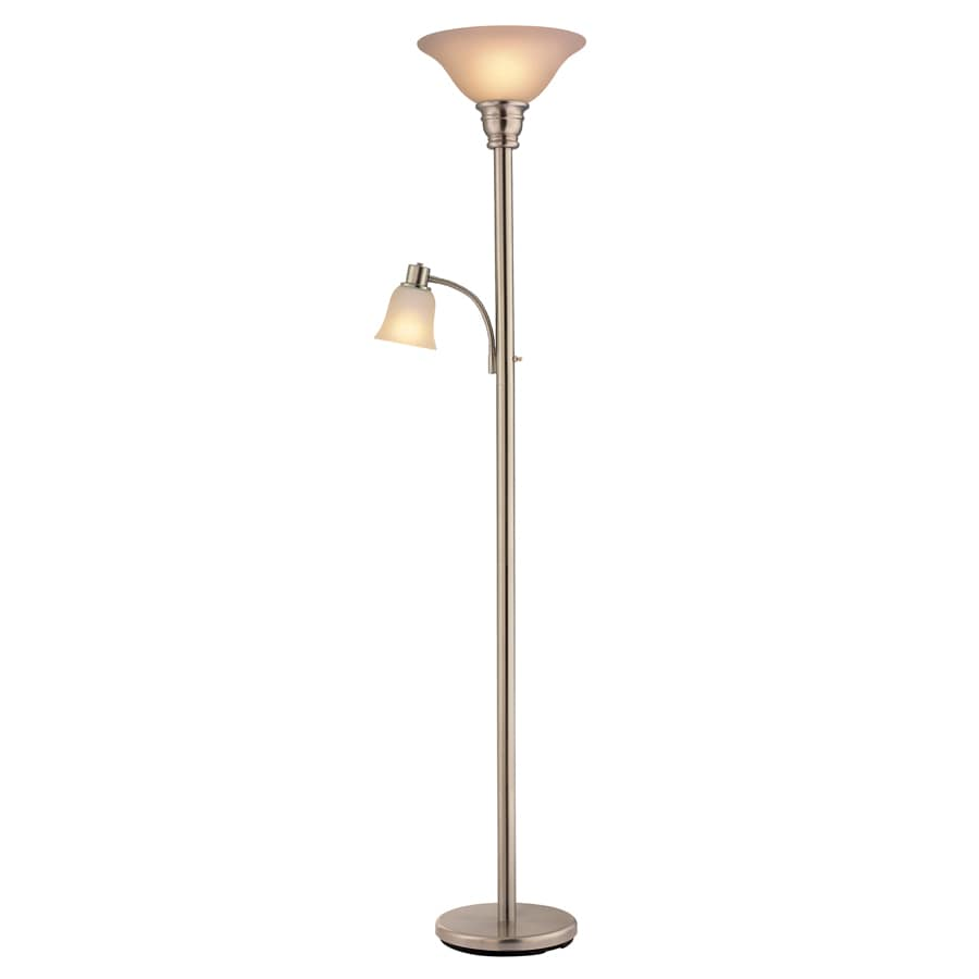 Portfolio 71.26-in 3-Way Switch Brushed Steel Standard Torchiere Indoor Floor Lamp with Glass Shade