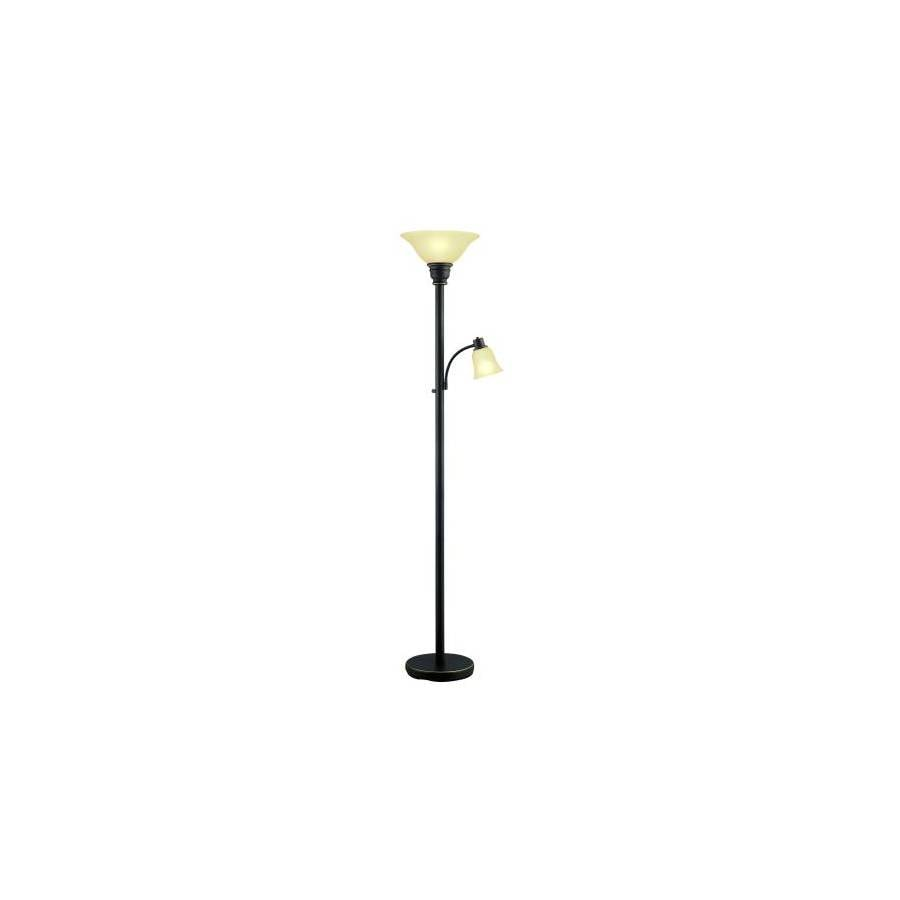 Catalina 70.87-in 3-Way Switch Bronze Torchiere Indoor Floor Lamp with Glass Shade