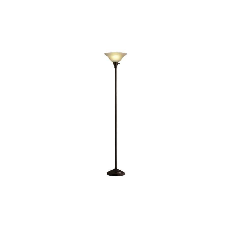 Portfolio 69-in Bronze Torchiere Indoor Floor Lamp with Glass Shade