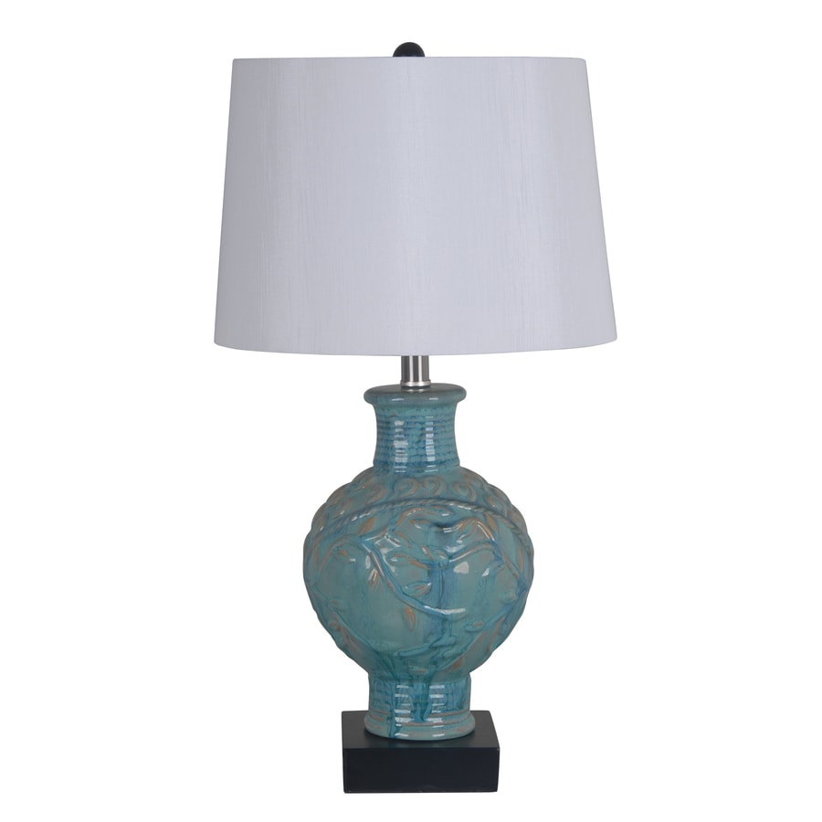 Catalina 26.5-in 3-Way Turquoise Indoor Table Lamp with Fabric Shade