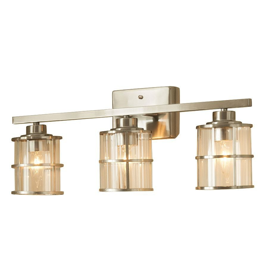 Shop allen roth 3 light kenross brushed nickel bathroom for Bathroom 3 light fixtures