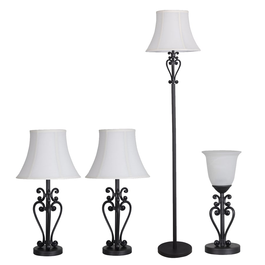 Portfolio 4-Piece Bronze Lamp Set with Fabric Shades