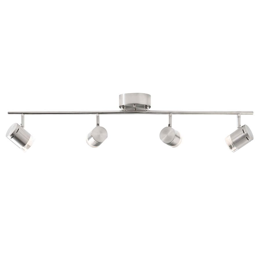Style Selections Leyden 4-Light 29.76-in Brushed Nickel Dimmable LED Fixed Track Light Kit