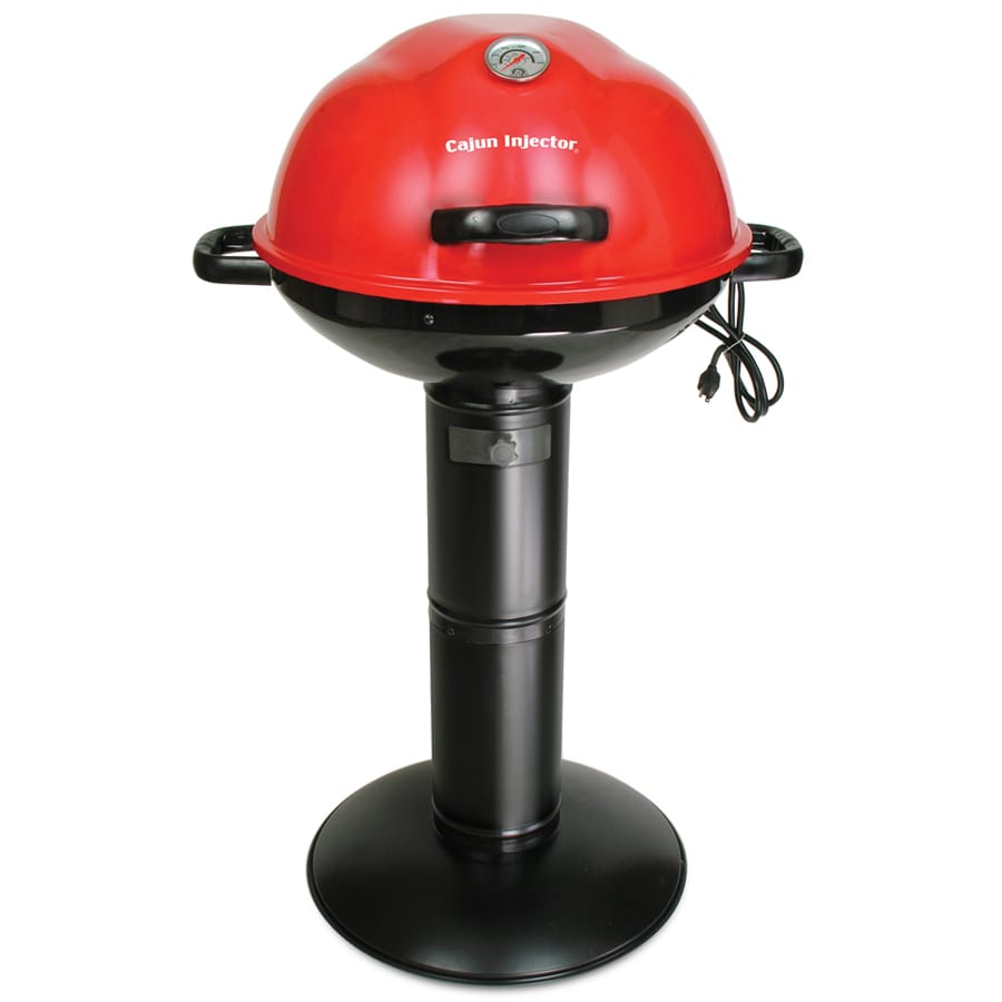 Cajun Injector 1,650-Watt Porcelain Coated Red Lid, Powder Coated Black Base and Post Electric Grill