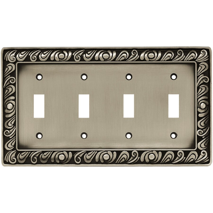 betsyfieldsdesign 4-Gang Brushed Satin Pewter Toggle Wall Plate