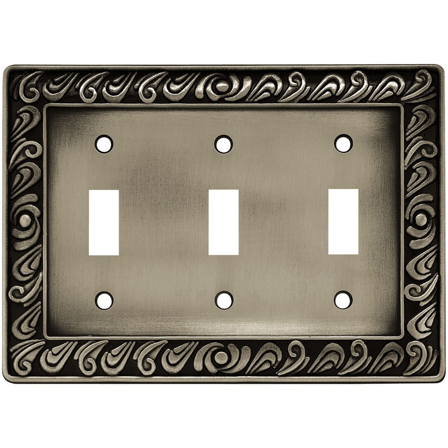 betsyfieldsdesign 3-Gang Brushed Satin Pewter Toggle Wall Plate