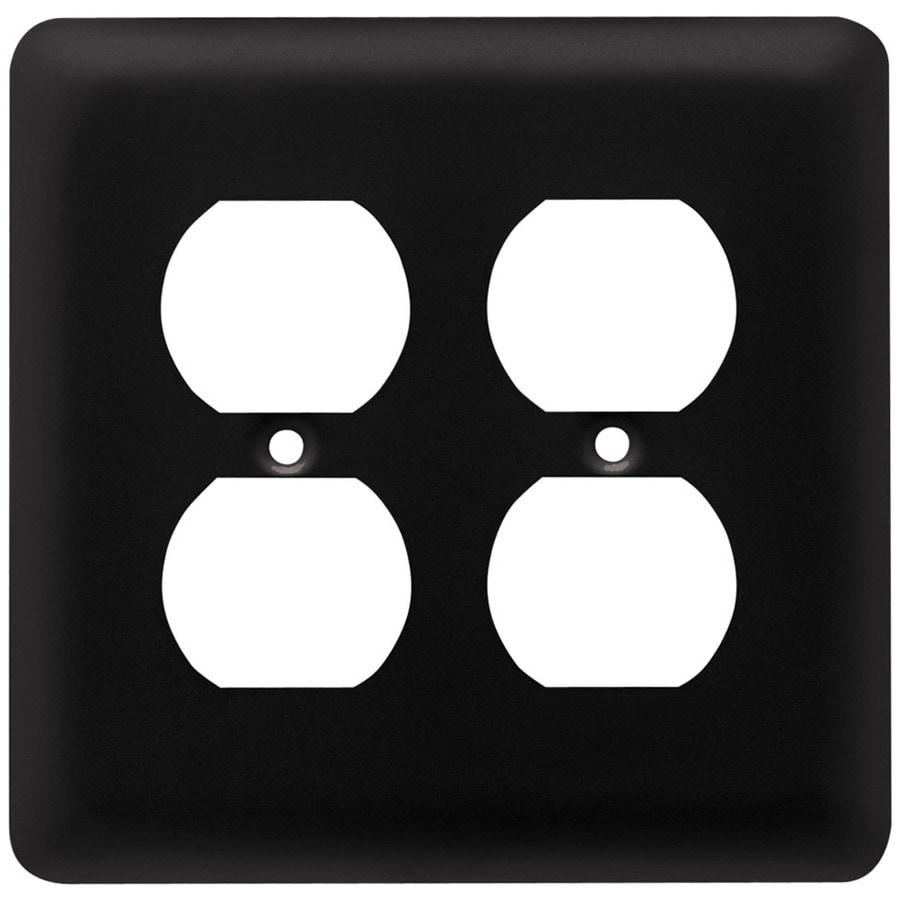 Brainerd Stamped Round 2-Gang Flat Black Double Duplex Wall Plate