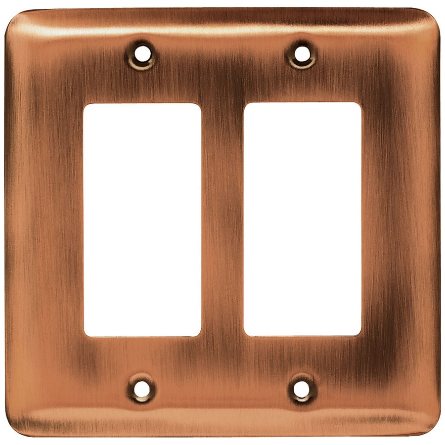 Brainerd 2-Gang Brushed Copper Decorator Wall Plate