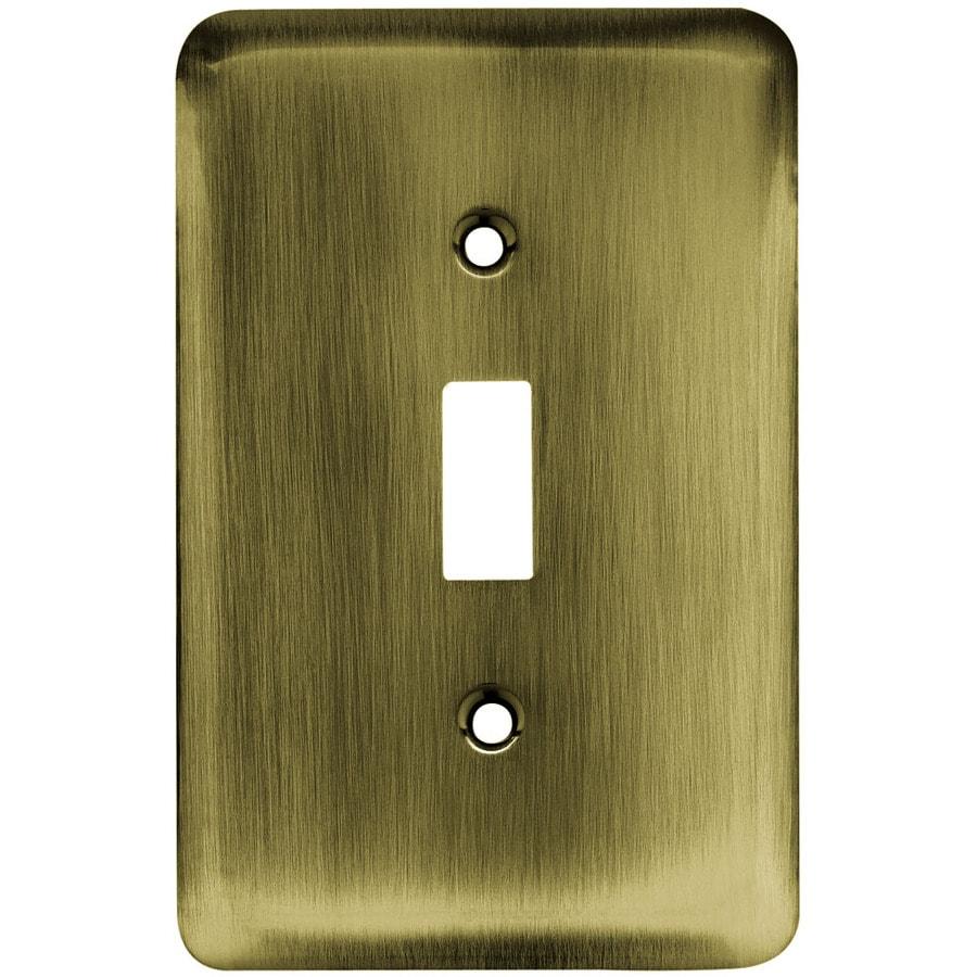 Brainerd 1-Gang Antique Brass Toggle Wall Plate