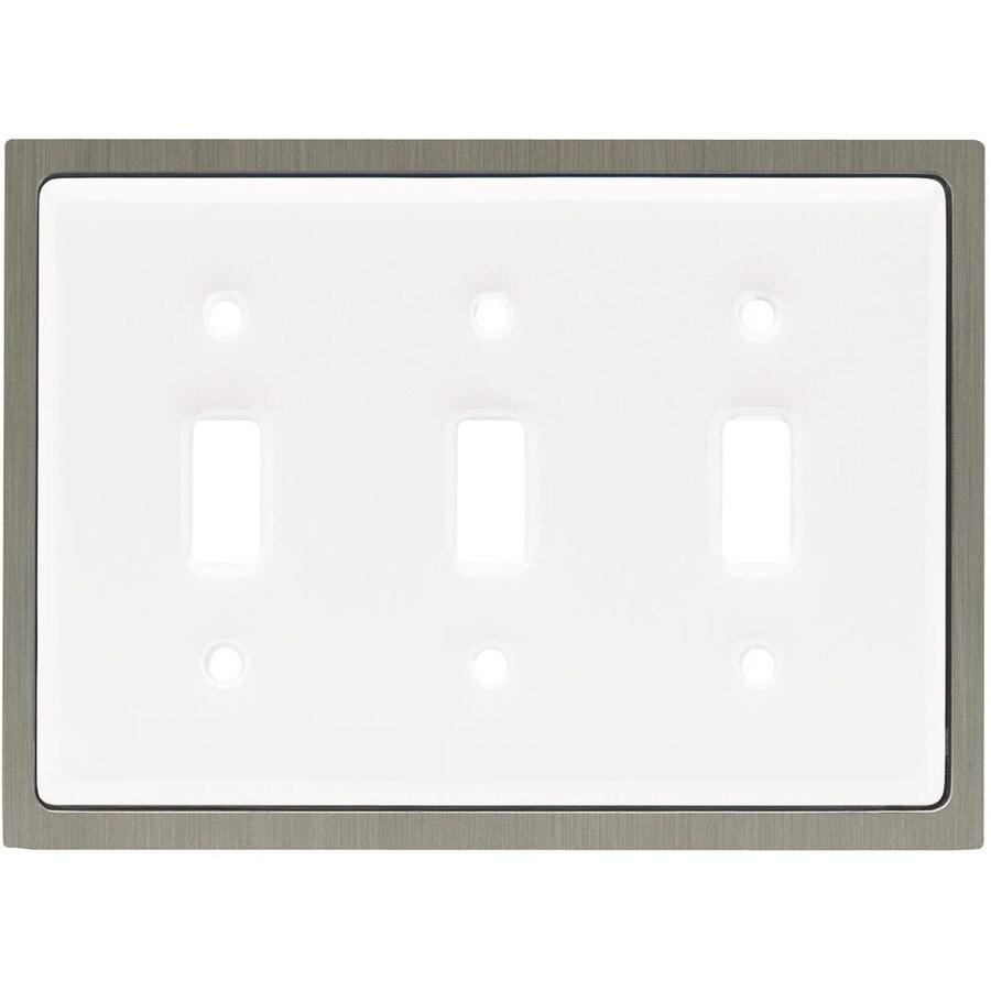 betsyfieldsdesign 3-Gang White Standard Toggle Ceramic Wall Plate