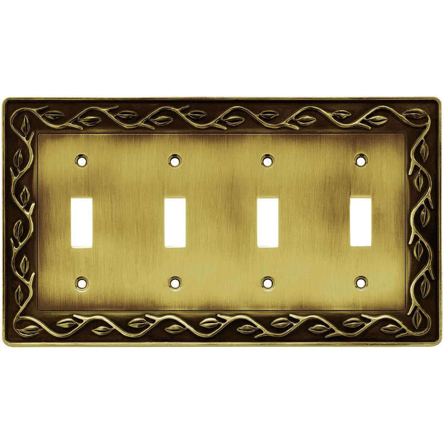 betsyfieldsdesign 4-Gang Tumbled Antique Brass Toggle Wall Plate